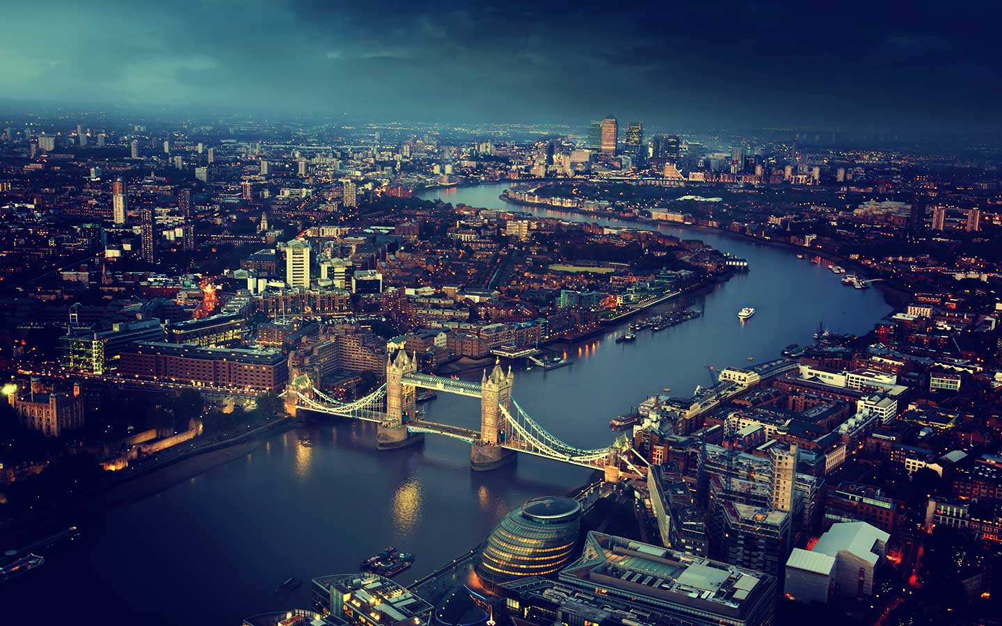 An overhead view of London